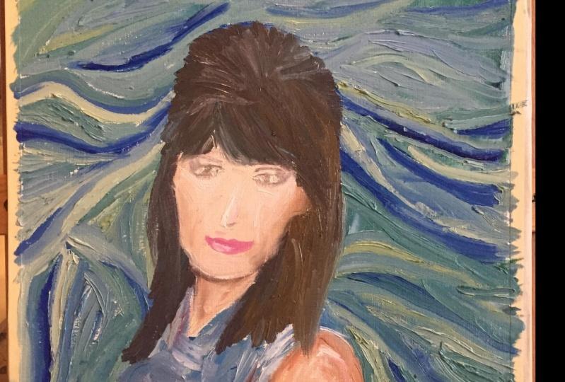 Self Portrait in oil, Van Gogh style