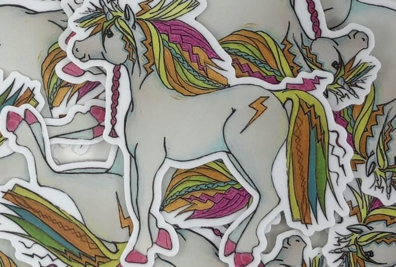 80's Unicorn Sticker