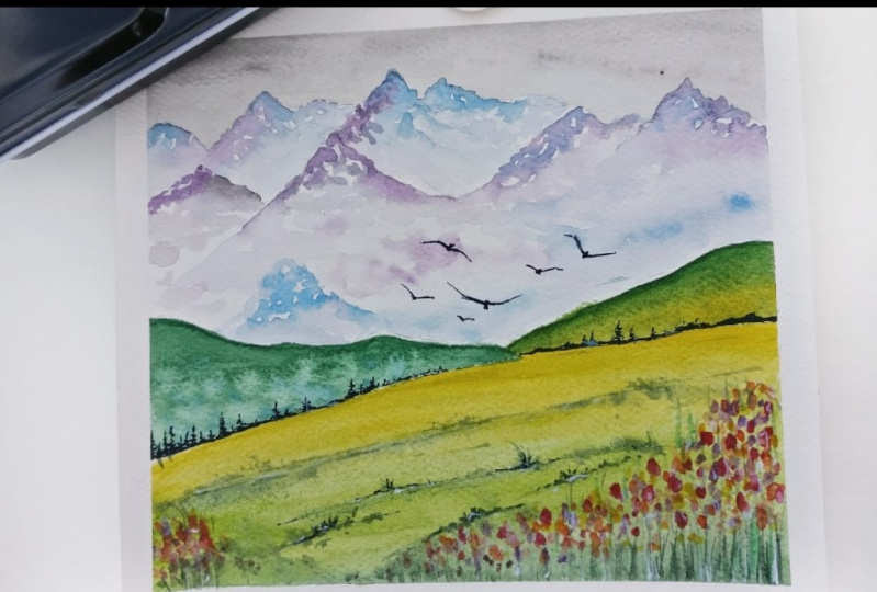 Green Watercolour Landscape