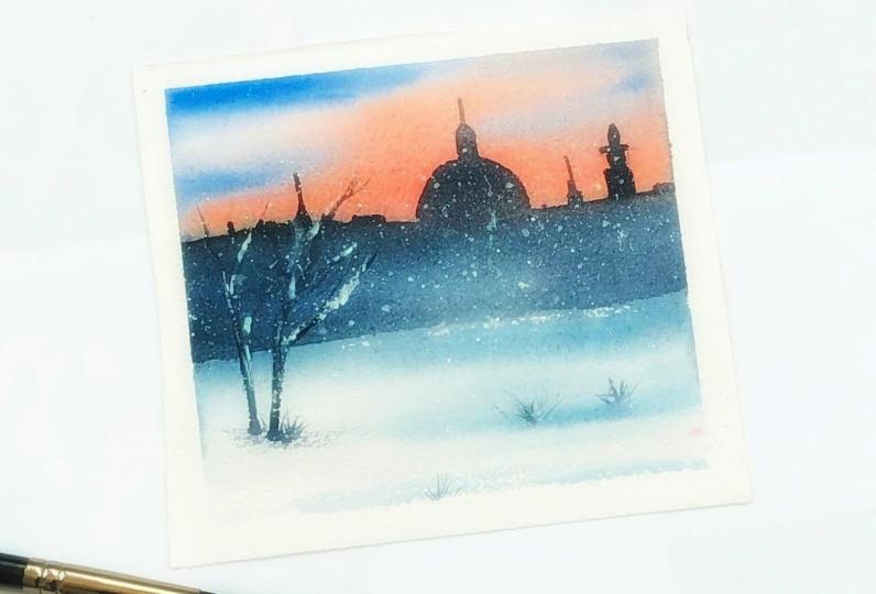Winter night in watercolor