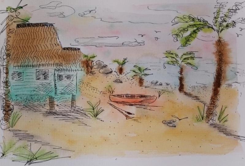 My Original Pen/Watercolor Island Sketch and Class Example