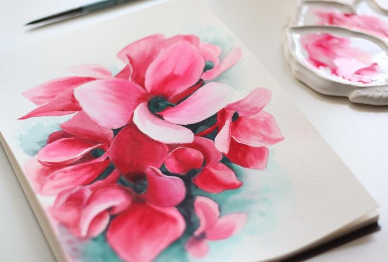 Watercolor Cyclamen
