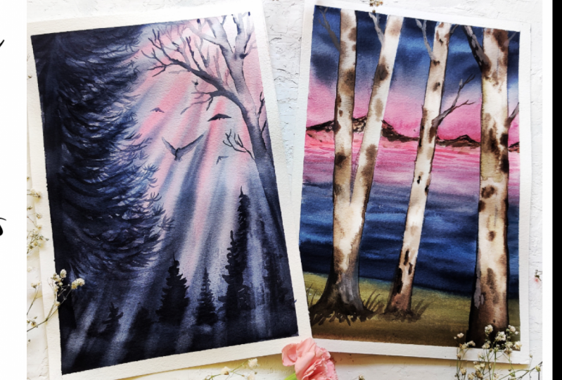 Dramatic Landscapes using Watercolors
