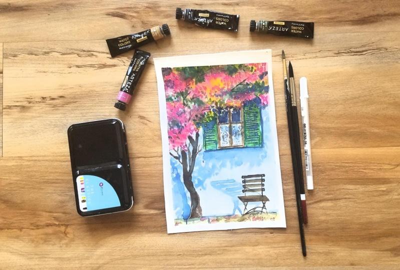 Watercolor Urban Landscape