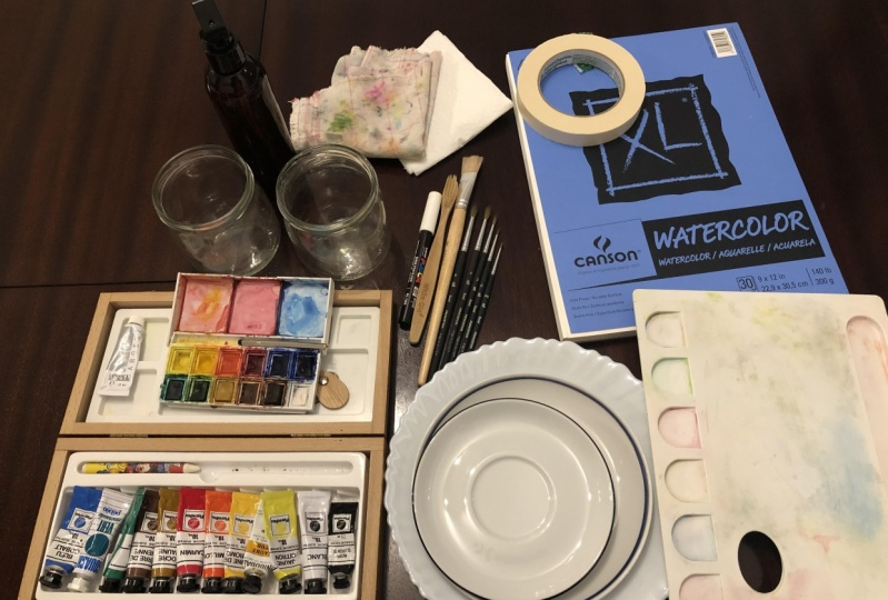 Watercolor tools and materials