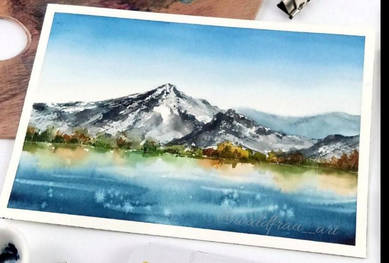 Watercolor landscape reflection