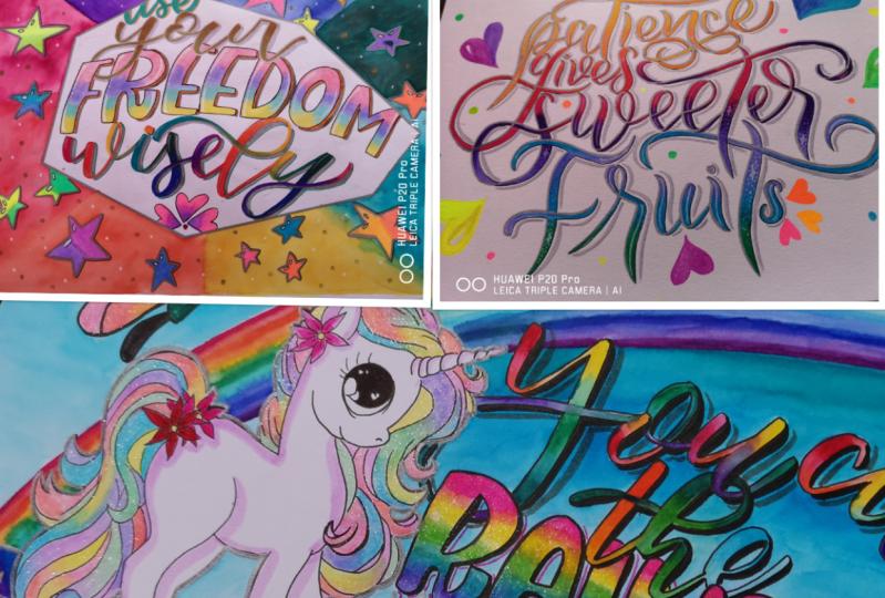 Rainbow lettering...So much FUN...Yaaaaay...