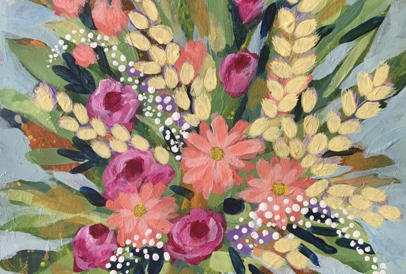 Clair Bremner Painting loose flowers in acrylic