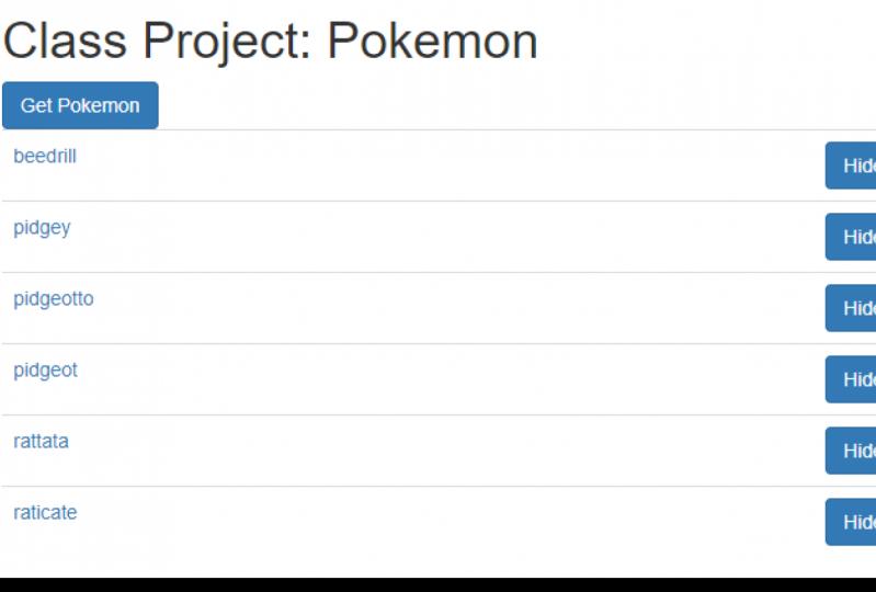 Class project: Pokemon List