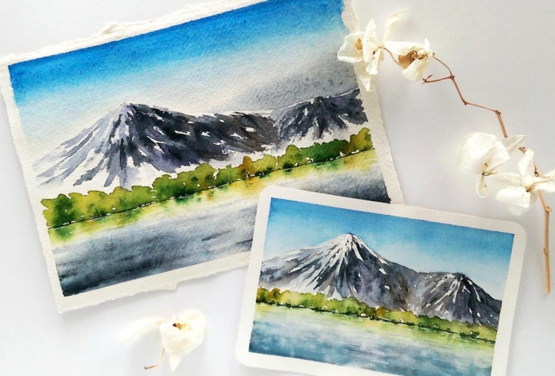 Watercolor mountainscapes