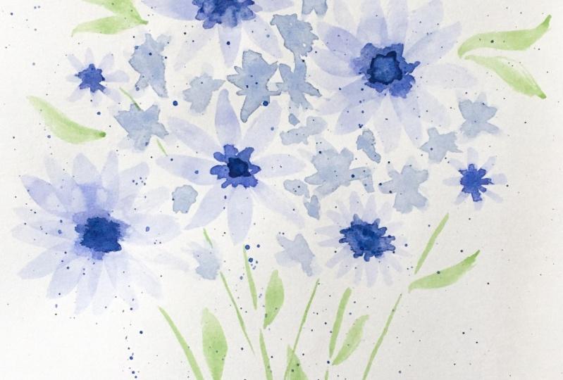 Blue flowers & lavender bouquet