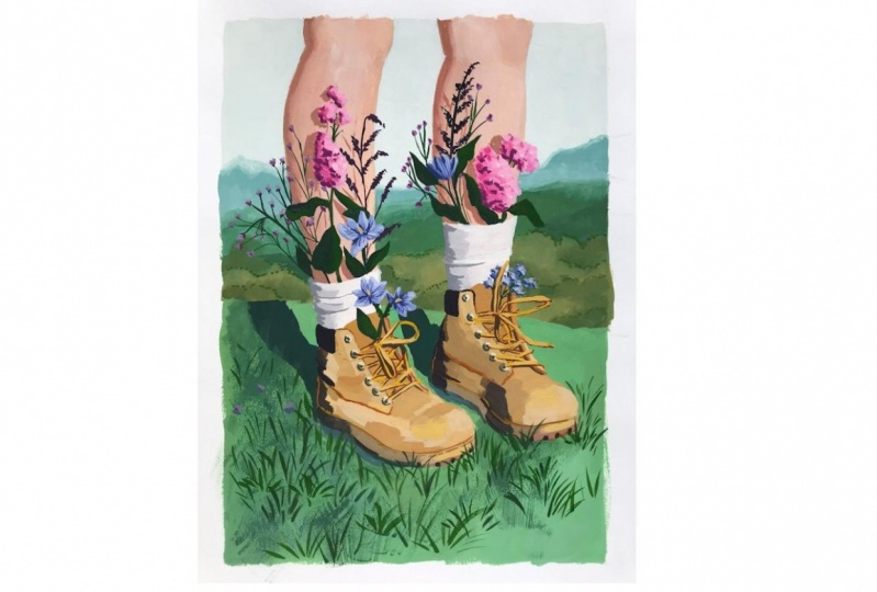 Gouache flowery shoes