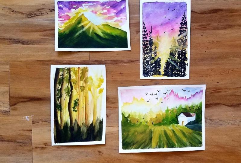 Exploring Sunset in Watercolors
