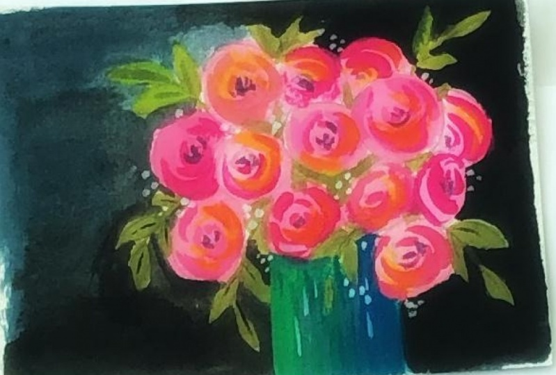 Dramatic bouquet in gouache