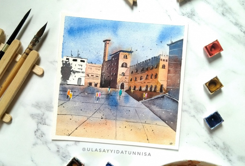 Final project from Sweta's class : watercolour cityscape