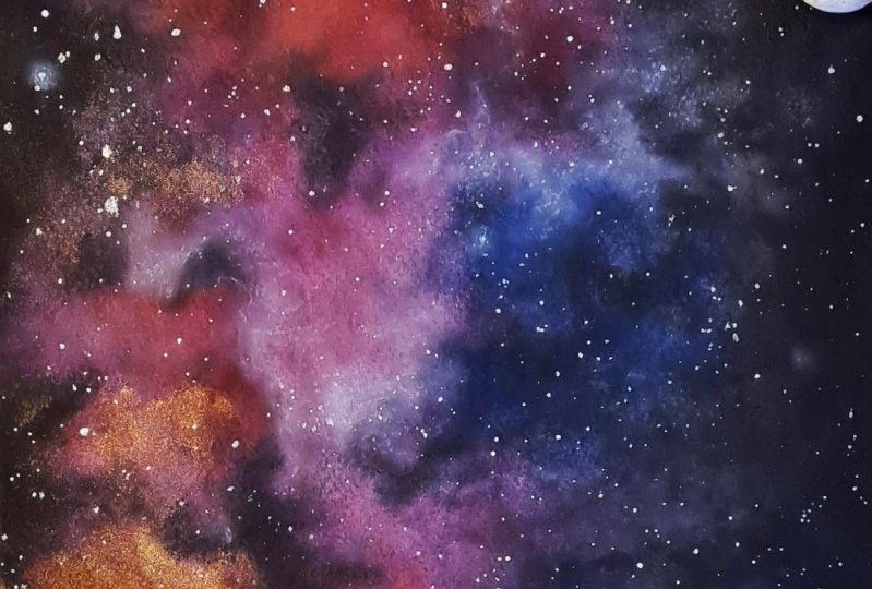first attempt painting watercolor nebula