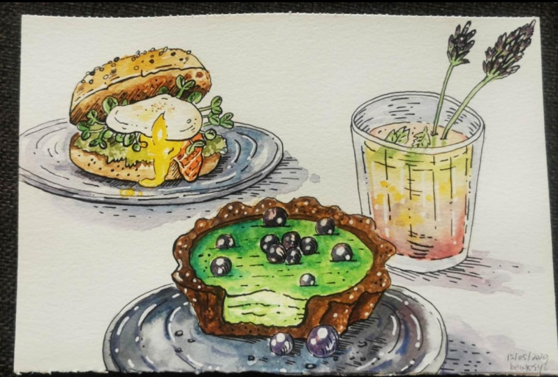 Cafe Sketching Practice. Episode 2: Food