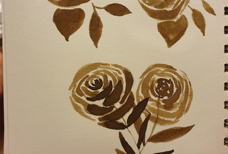 Sepia ink flowers