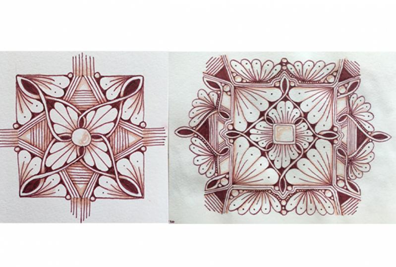 Brown mandalas with zentangle patterns