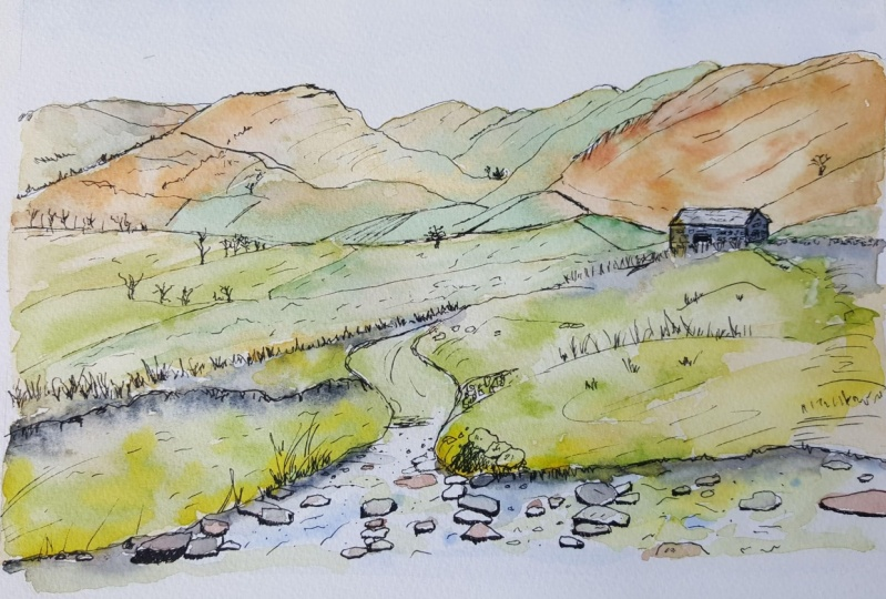 Ink and Watercolour Lakeland Landscape