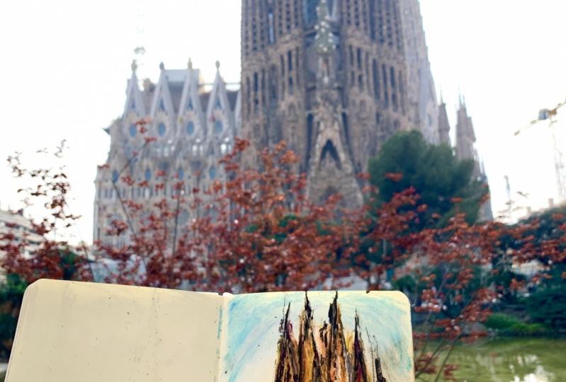 Architecture Impression Sketch In Barcelona
