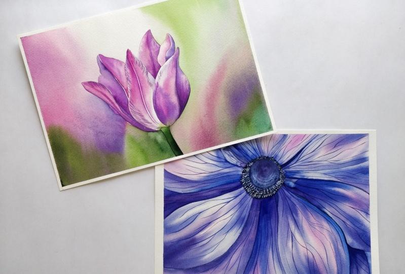 Watercolor Flowers in two ways