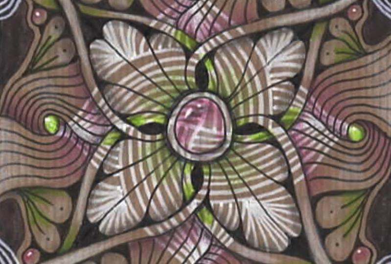 Tranzending mandala on craft paper