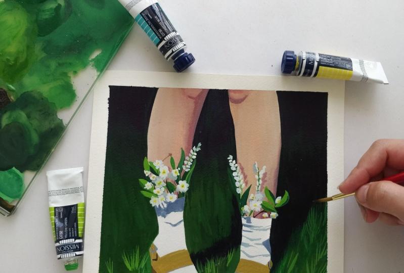 Gouache flower shoes
