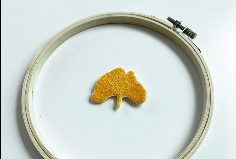 Embroidered ginkgo leaf brooch