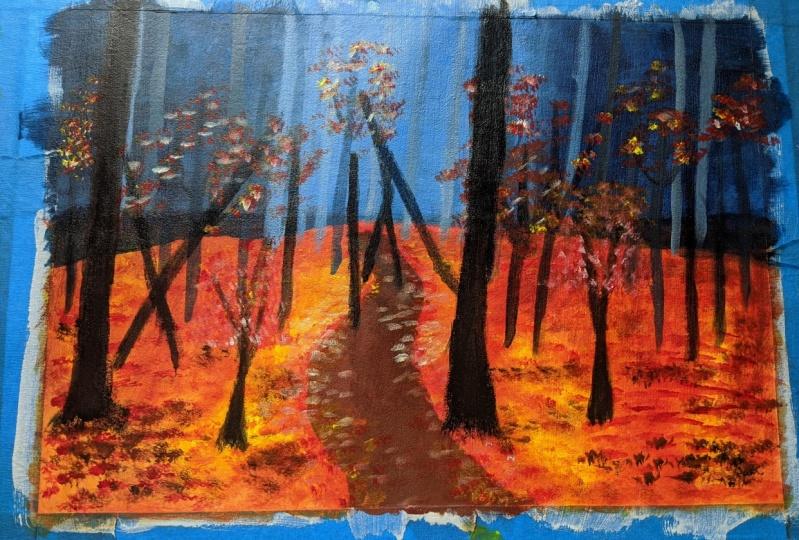 Acrylic Forest Landscape