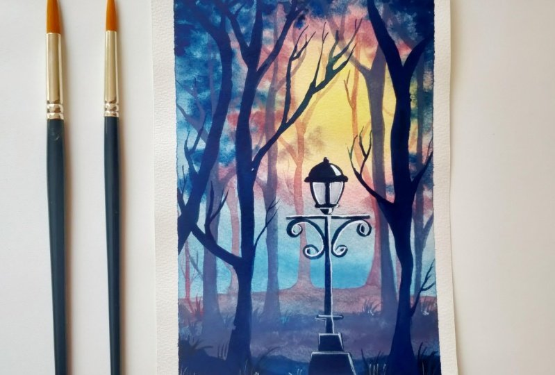 Lamp in woodland