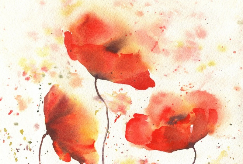 Expressive Watercolor Poppies