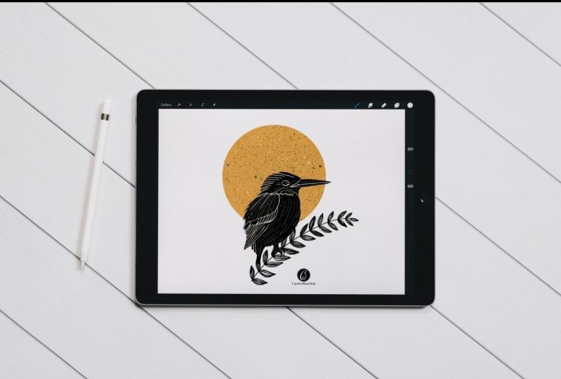 Kingfisher Linocut print design