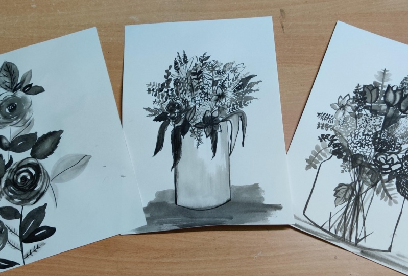 Ink florals: Three different styles