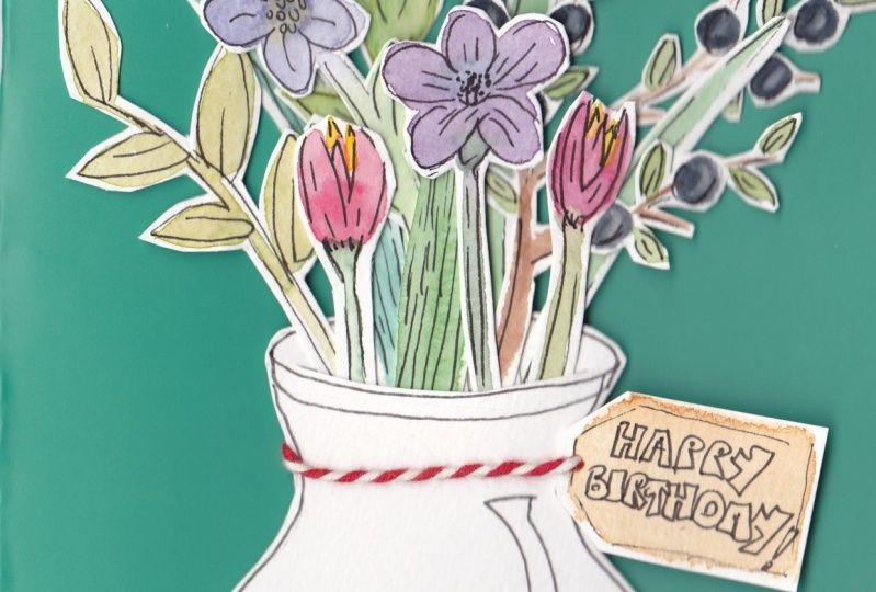 Water colour cut out flower cards