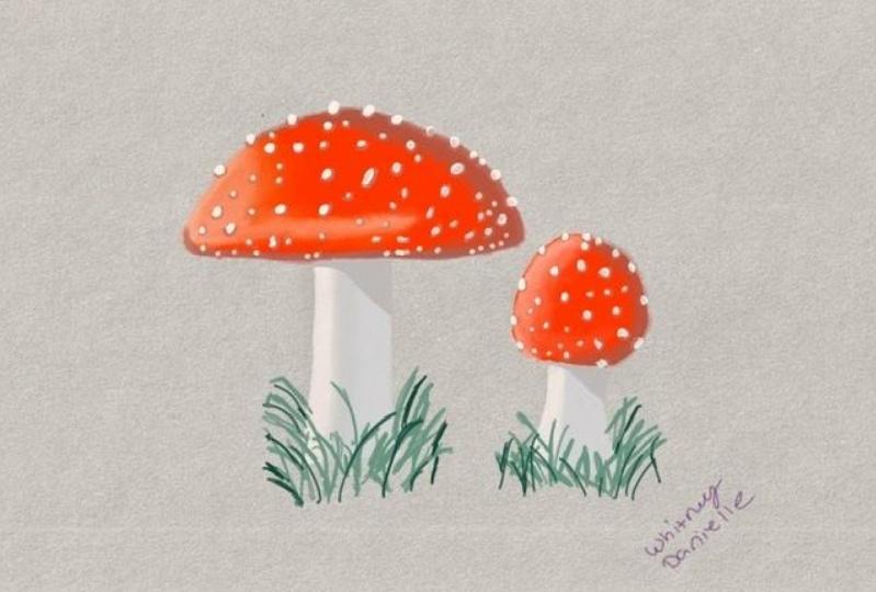 Mushrooms and nail polish in procreate.