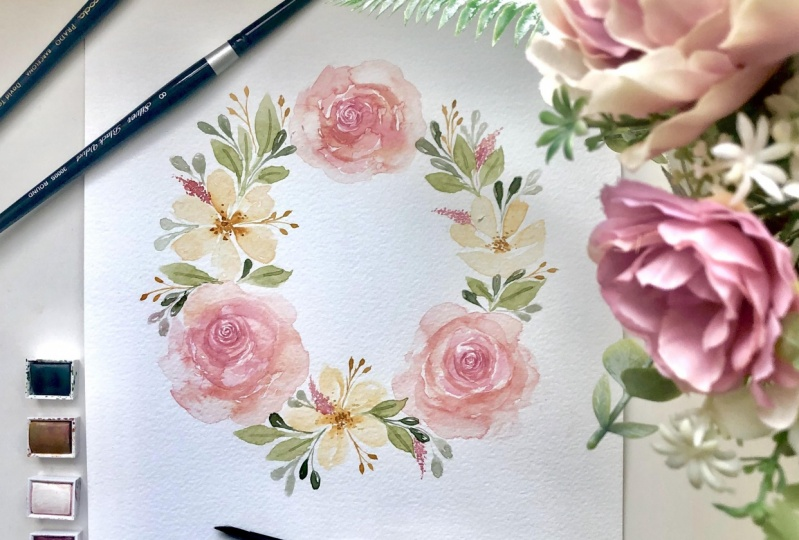 floral wreath watercolour painting