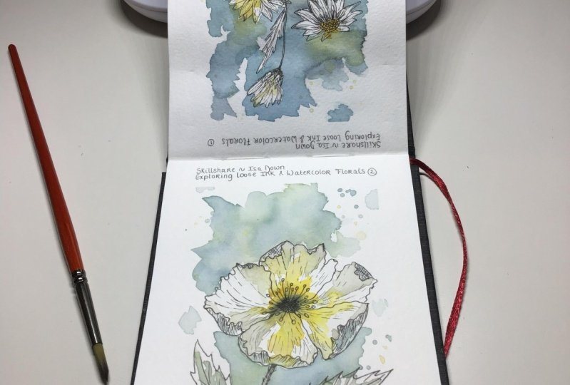 Loose watercolor and ink Flowers