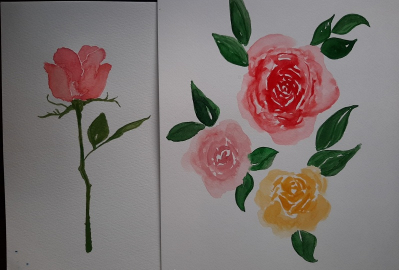 Roses - side and top view painting