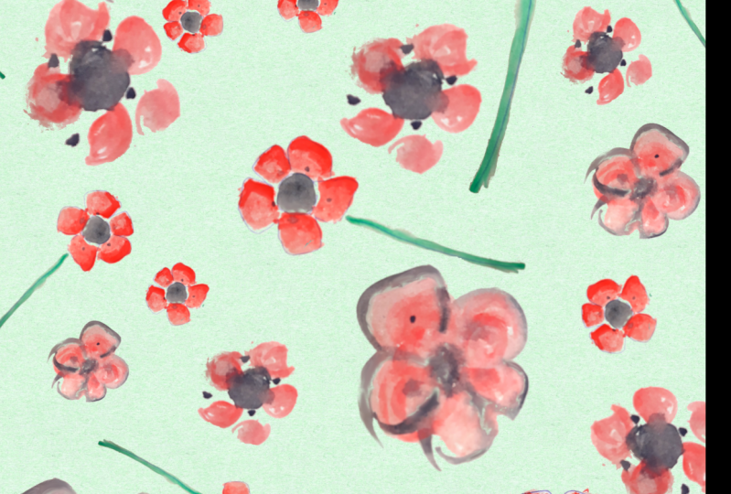 ANZAC day - red poppies from watercolour