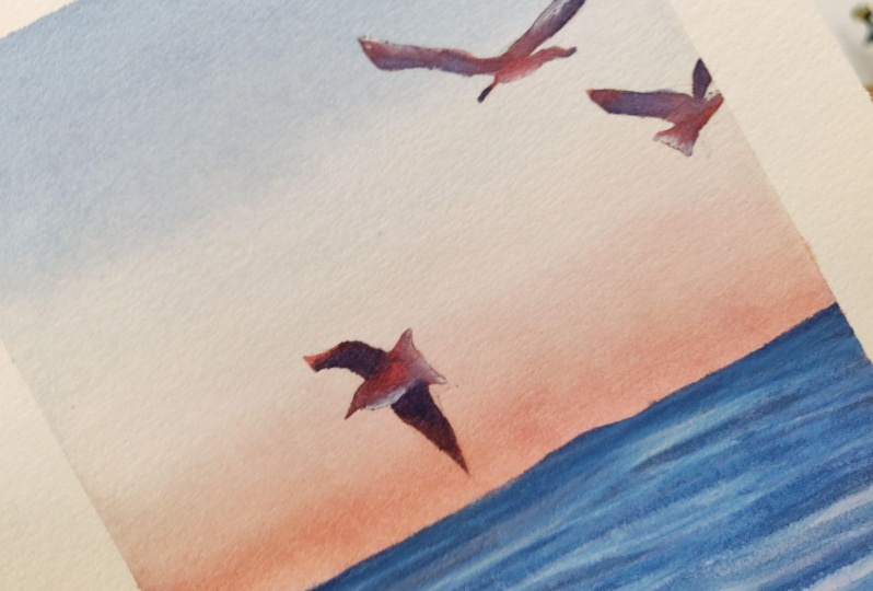 Sea and gulls with watercolor