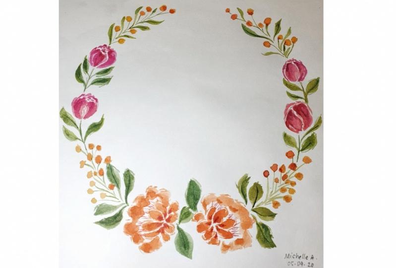 Loose Floral Watercolor Peony Wreath