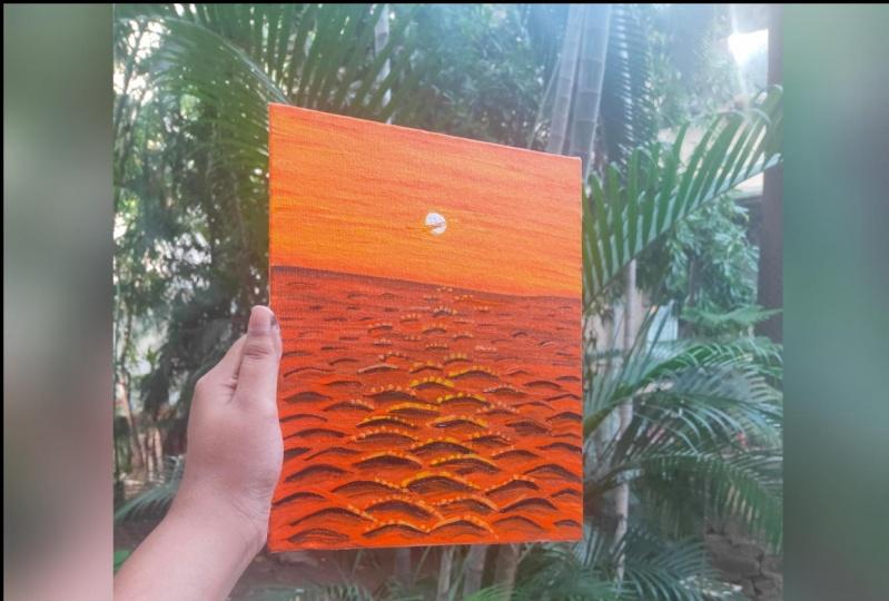 Sunset Waves Landscape Painting