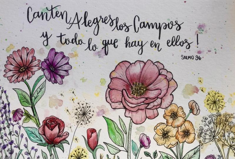 Lettering+modern flowers