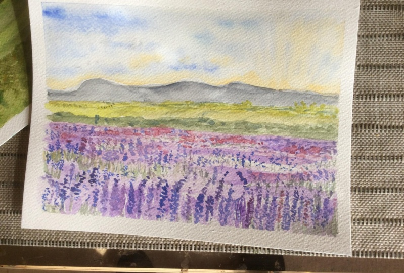 Watercolour landscape with Caitlin