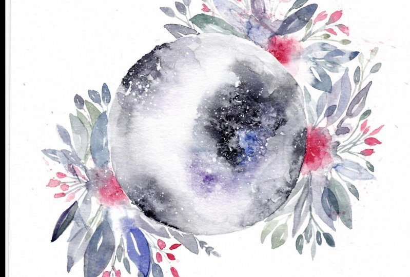 my moon and florals with love