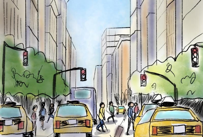 NY street (created with Procreate)