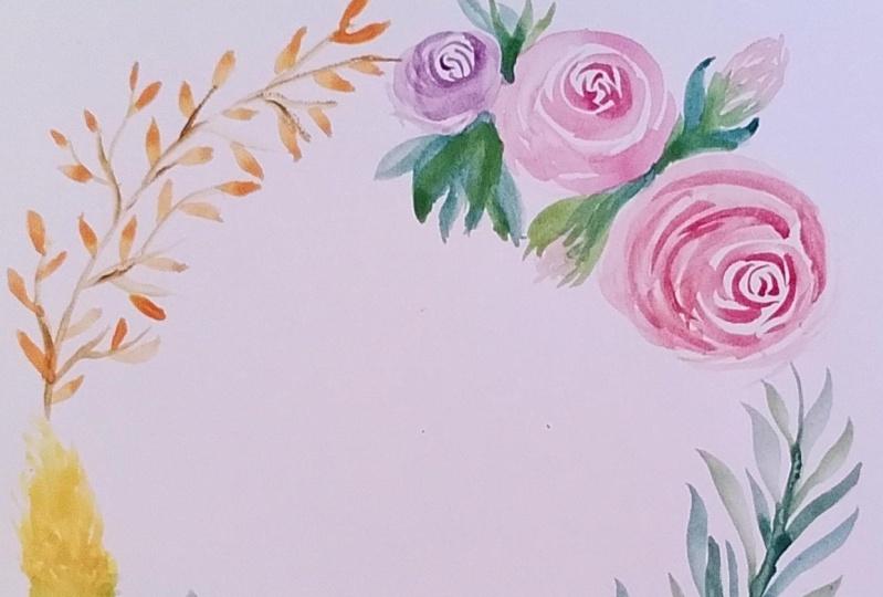 Watercolour flower wreath