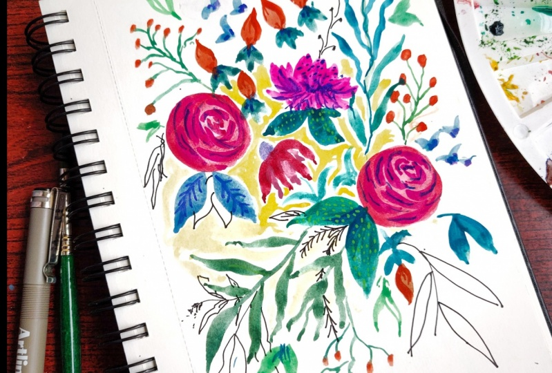 Abstract florals using gauche and ink