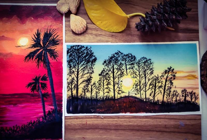 Two Phases Of Nature - Sunrise / Sunset Acrylic Painting